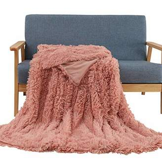 "Soffte Cloud Super Soft Long Shaggy Warm Plush Fannel Blanket Throw Qulit Cozy Couch Blanket for Winter Dirty Pink(51""x63"")"