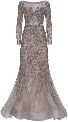 Jovani Beaded Long Sleeve Gown