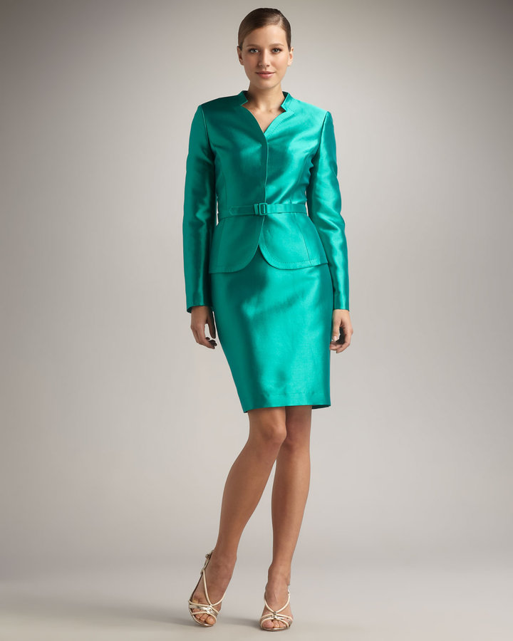 Albert Nipon Structured-Neck Skirtsuit