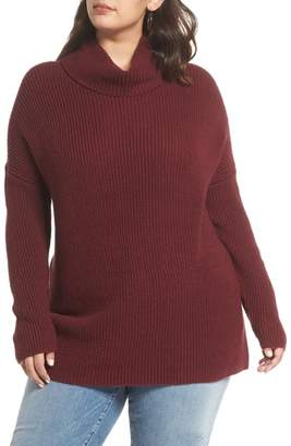Halogen Oversize Turtleneck Tunic Sweater