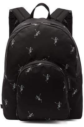 Alexander McQueen Dancing Skeleton Print Backpack - Mens - Black White