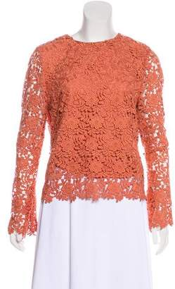 Alice + Olivia Lace-Accented Long Sleeve Blouse