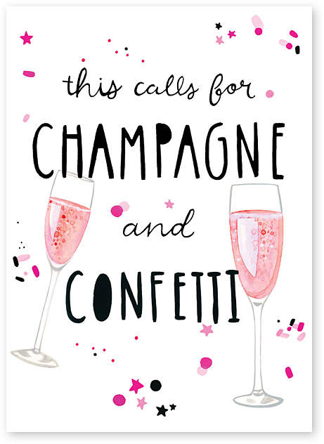 'Champagne & Confetti' Engagement Greeting Card - Set of Six