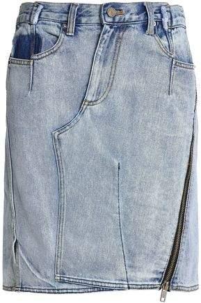 Zip-Detailed Denim Skirt