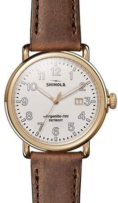 Shinola Men's Runwell Leather Watch, Brown/Gold