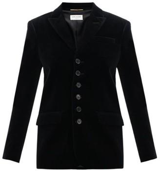 Saint Laurent Seven Button Cotton Velvet Blazer - Womens - Black