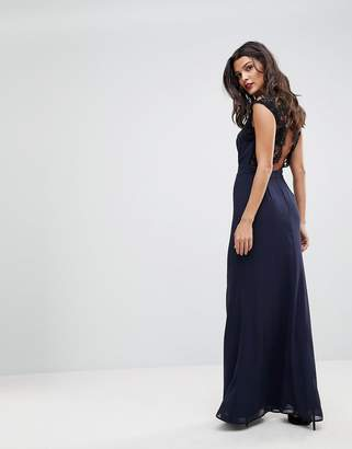 Elise Ryan High Neck Maxi Dress With Cut Out Lace Back