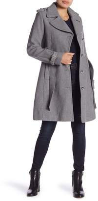 GUESS Belted Wool Blend Coat
