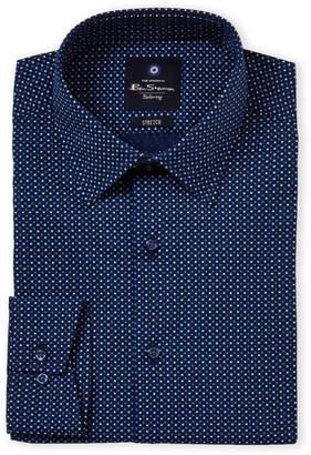 Ben Sherman Navy Pinwheel Stretch Collar Dress Shirt