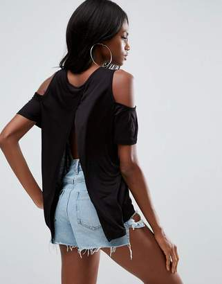 Asos Top With Cold Shoulder And Split Back