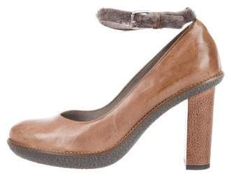Brunello Cucinelli Leather Shearling-Trimmed Pumps w/ Tags