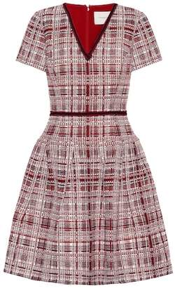 Carolina Herrera Plaid flared knit dress