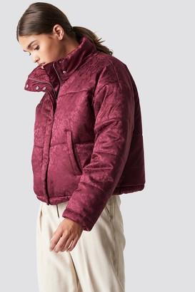 NA-KD Na Kd Shiny Jacquard Puff Jacket Burgundy