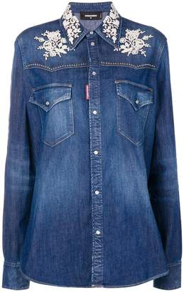 DSQUARED2 lace appliqué denim shirt