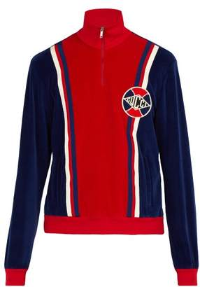 Gucci Varsity Stripe Velvet Track Top - Mens - Blue Multi