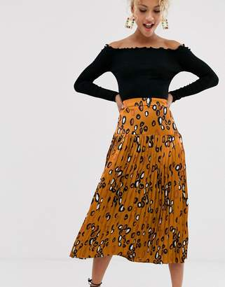 Never Fully Dressed contrast leopard pleated midi skirt in multi