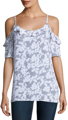 Kensie Floral-Print Cold-Shoulder Woven Top $49 thestylecure.com