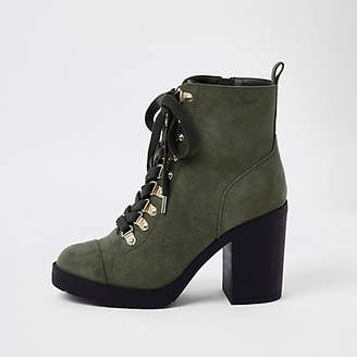 River Island Khaki green chunky wide fit lace-up boots
