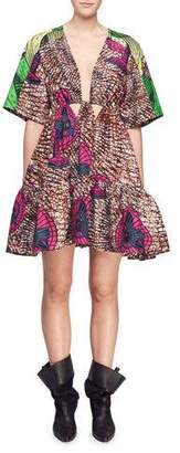 Stella McCartney Saniya Plunging Twisted-Front Dutch Fan-Print Dress with Peplum Hem