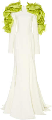Christian Siriano Contrast Lei Long Sleeve Crepe Gown
