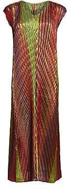 Issey Miyake Women's Sparkle Pleats Cap Sleeve Midi Dress