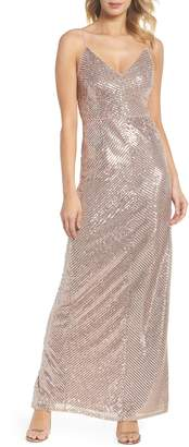 Adrianna Papell Stripe Sequin Gown