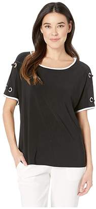 Tribal Pack and Go Travel Jersey Short Sleeve Dolman Top w/ Eyelet Detail