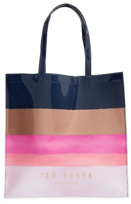 Ted Baker London Marina Mosaic Stripe Large Icon Tote - Blue $59 thestylecure.com