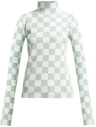Jil Sander High Neck Checked Jacquard Top - Womens - Blue Multi