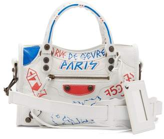 Balenciaga Classic City Mini Graffiti Printed Leather Bag - Womens - White Multi