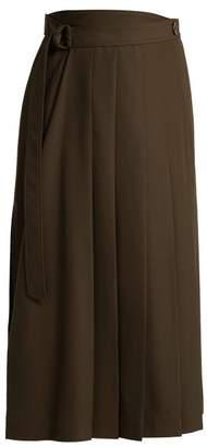 Joseph - Fleet Pleated Midi Skirt - Womens - Khaki