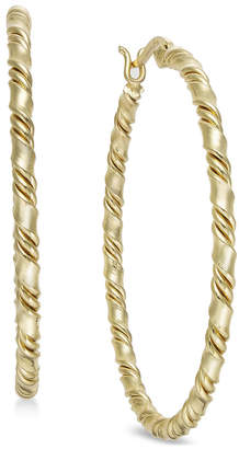 Essentials Medium Silver Plated Twisted Hoop Earrings