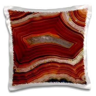 3dRose Banded Agate, rust colored - Pillow Case, 16 by 16-inch
