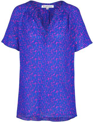 Libelula Liz Top Squares Print Blue
