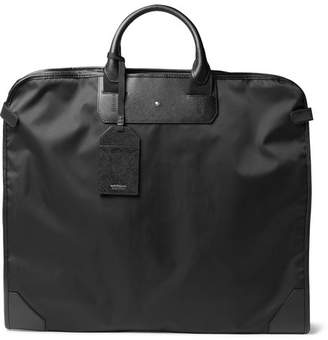 Montblanc Sartorial Cross-Grain Leather-Trimmed Shell Garment Bag - Men - Black