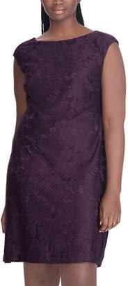 Chaps Plus Size Floral Lace Sheath Dress
