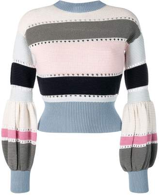 Self-Portrait puff sleeve striped sweater