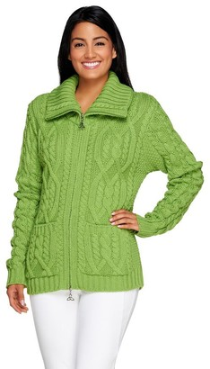 Aran Craft Merino Wool Zip Front Cardigan w/ Pockets