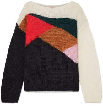 Burberry Oversized Color-block Mohair And Silk-blend Sweater - Black