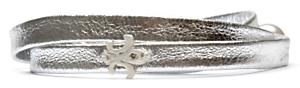 Carolina Leather Wrap Bracelet: Silver