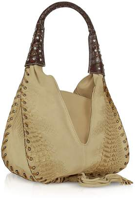 Ghibli Jeweled Beige Suede and Leather Hobo Bag