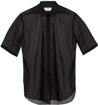 Saint Laurent Short-sleeved sheer cotton shirt