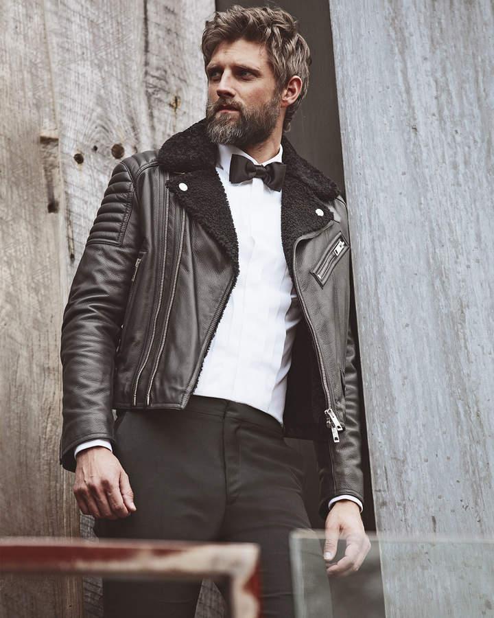 Burberry Wool-Mohair Tuxedo Trousers, Black