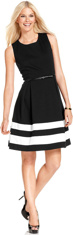 Calvin KleinCalvin Klein Colorblocked Belted Fit & Flare Dress
