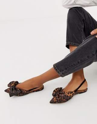 Asos DESIGN Lips bow slingback ballet flats in leopard