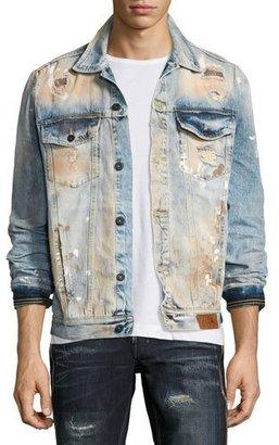 PRPS Dendrite Light-Wash Distressed Denim Jacket, Indigo $298 thestylecure.com