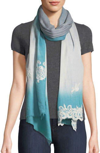 Bindya Ombré Lace-Trim Scarf, Blue