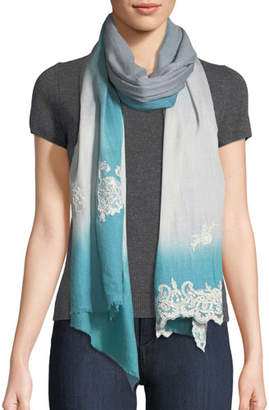 Bindya Ombré Lace-Trim Scarf, Blue