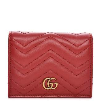 Gucci Card Case Marmont Matelasse GG Chevron Quilted Hibiscus Red