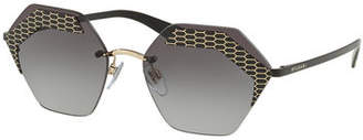 Bvlgari Hex-Frame Rimless Sunglasses
